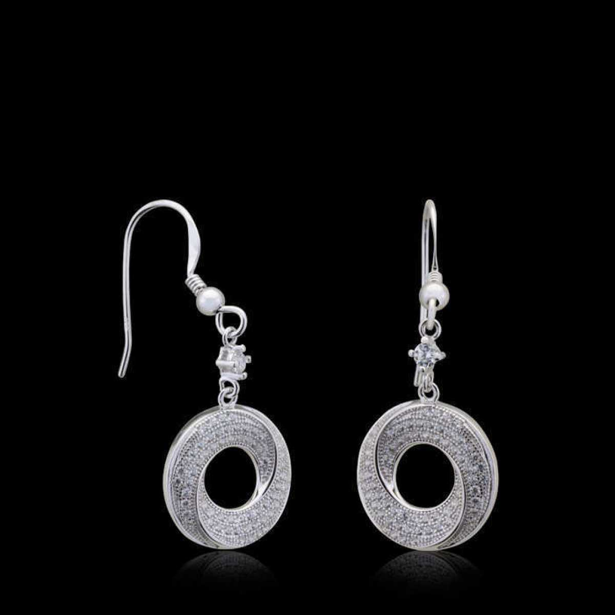 Starling Silver Round Drop Hanging Earring