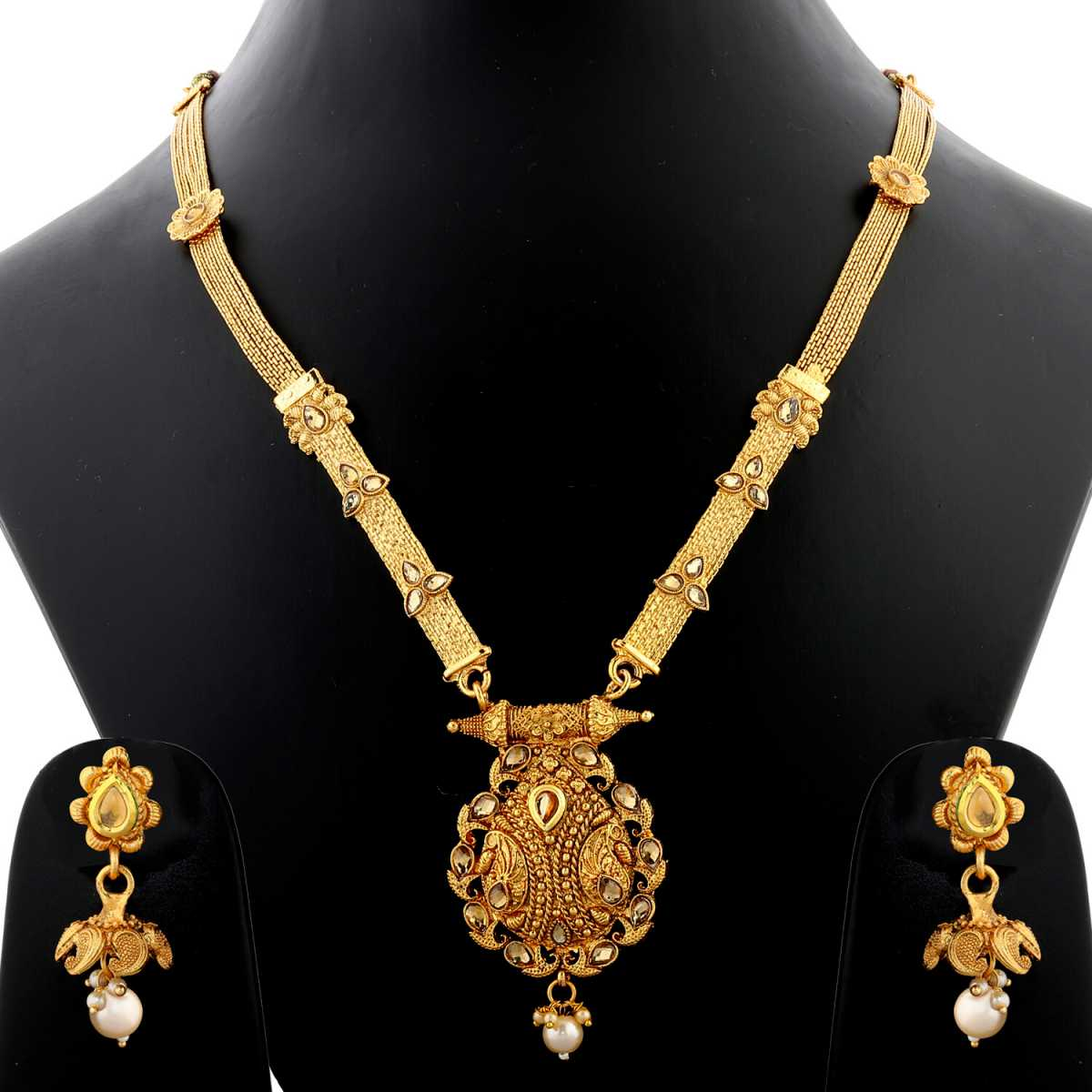 Silver Shine Exclusive Gold Plated Traditonal Stone Studded Designer Ethnic Long Necklace Set  Jewellery  For Women And Girls
