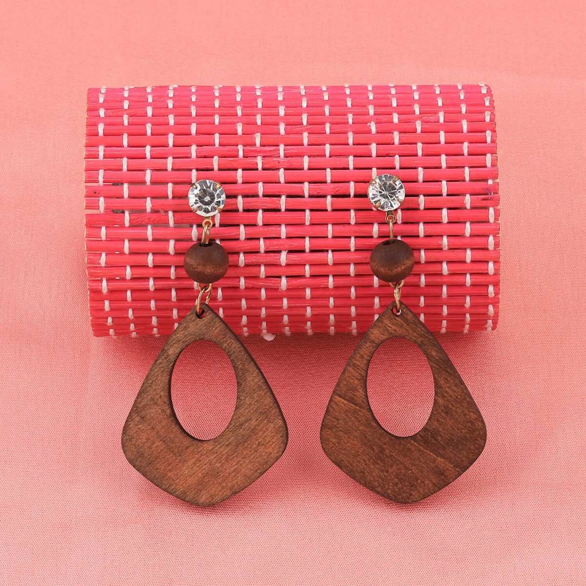 SILVER SHINE Designer Diamond Brown Wooden Earrings Perfect and Different Look For Women Girl