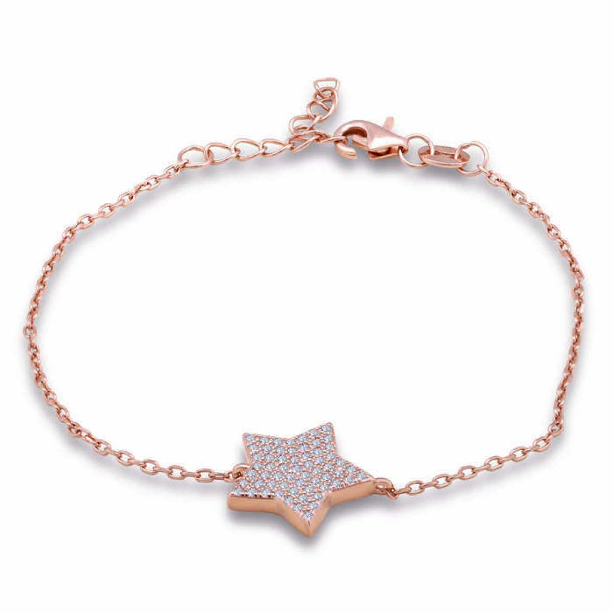 Star Connected Rose Gold Chain Bracelet