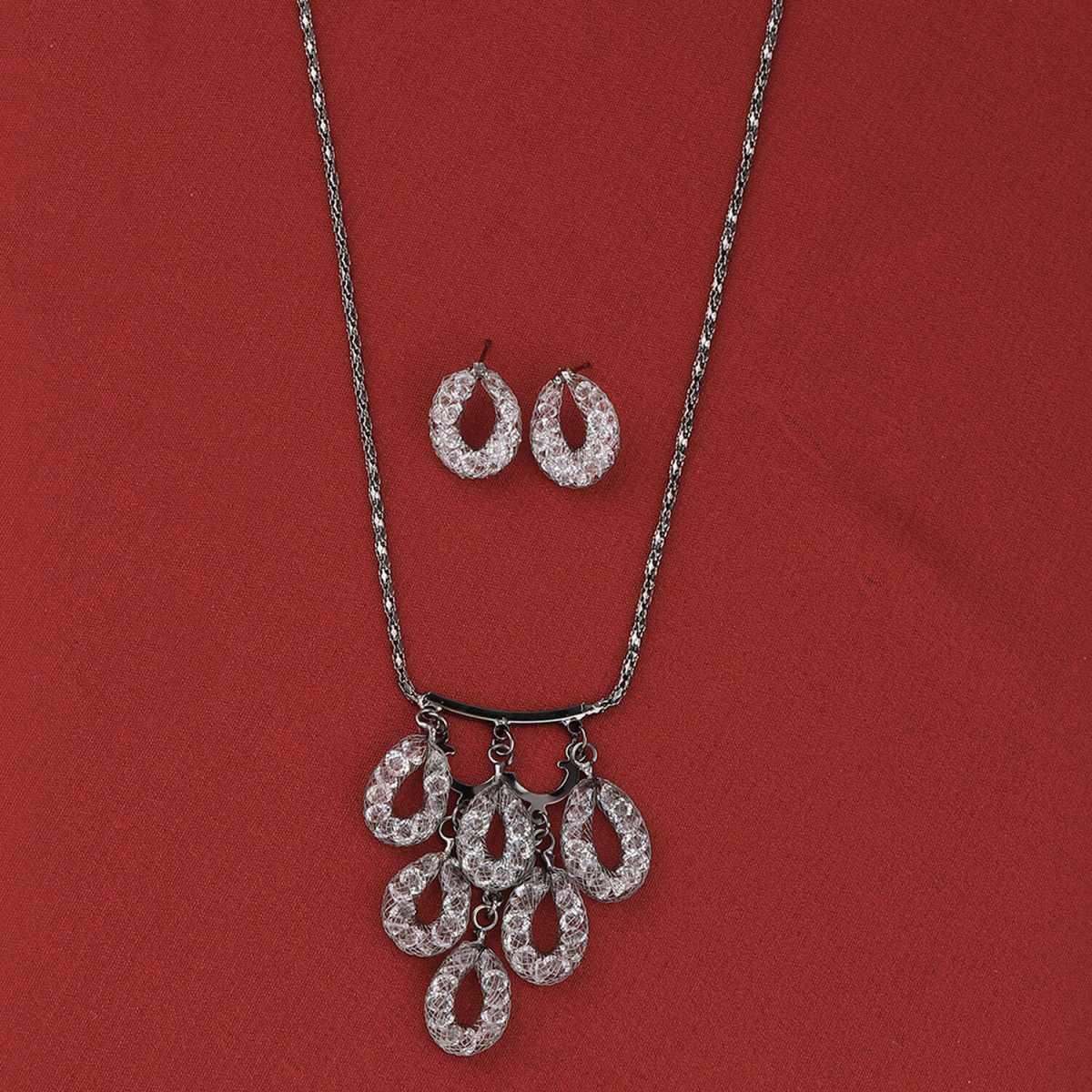 SILVER SHINE Designer Party Wear Pendant Set For Women Girl