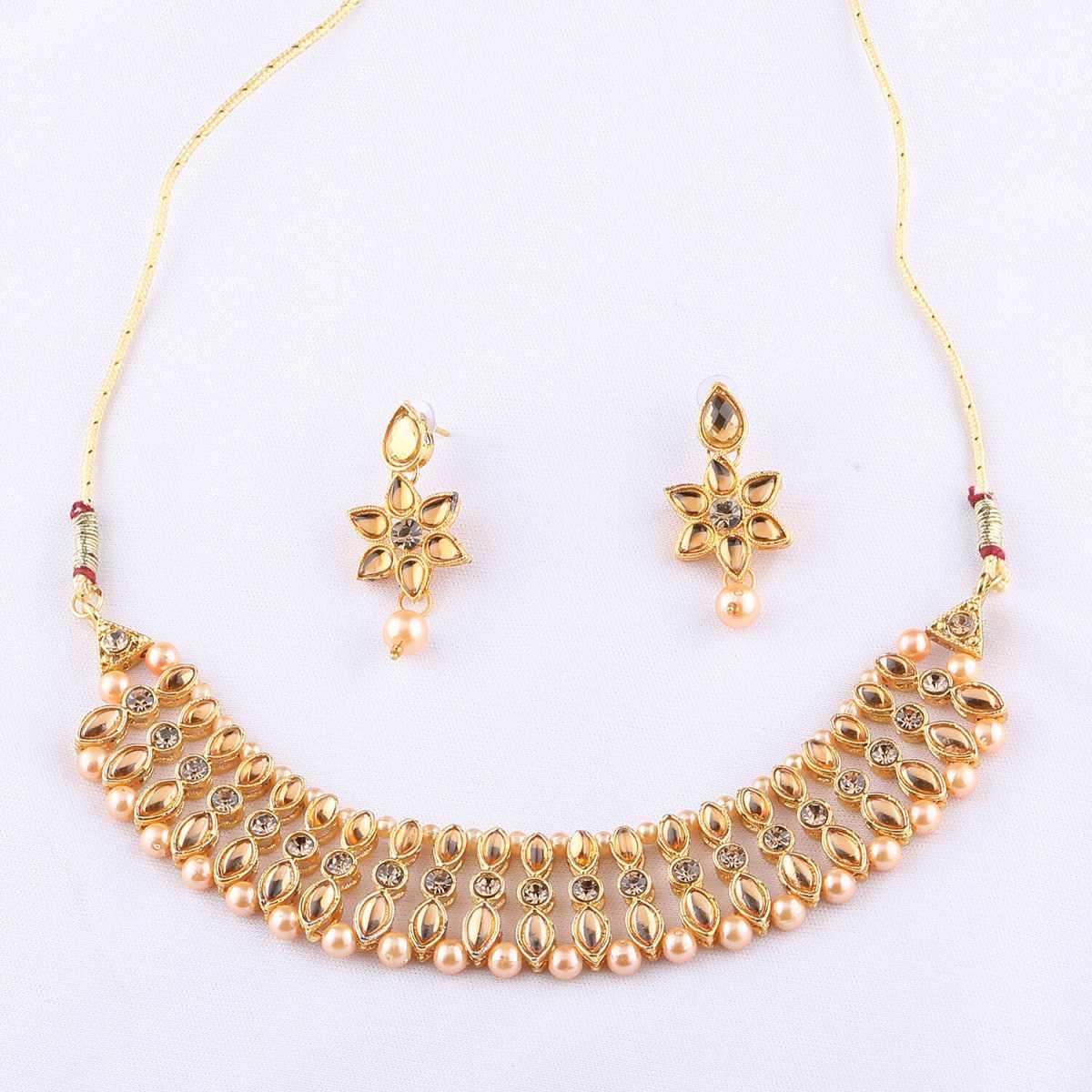 Traditional Designer Gold Plated Diamond Studded Kundan Necklace Set For Women Jewellery