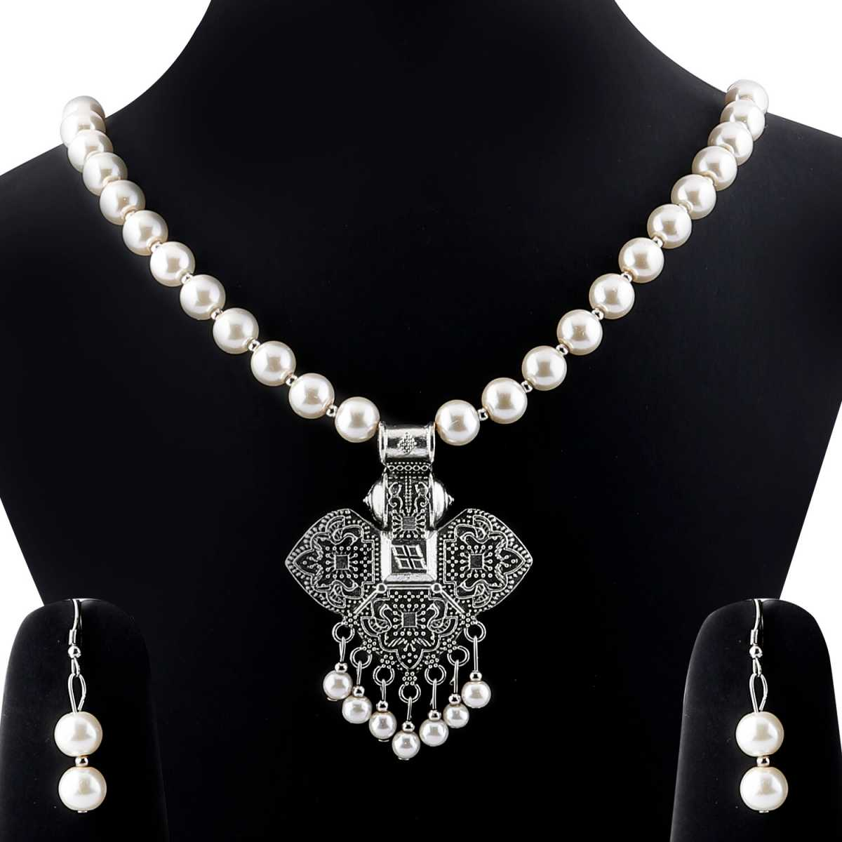 Exclusive Oxidised Pendant White Pearl Jewellery set for Women
