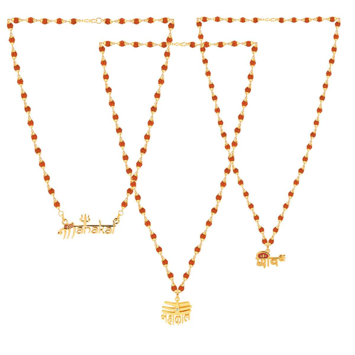 SILVER SHINE Gold Plated Attractive Combo Rudraksh Mala Pendant  for Men and Women-set 3