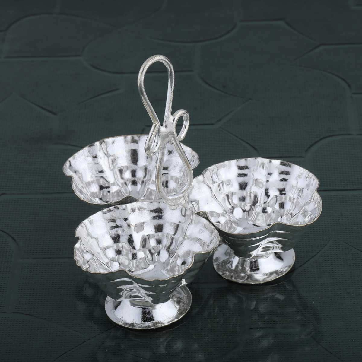 Silver Shine Silver Plated  Flower Design Kankavati/Sindoor Stand  Set of 1