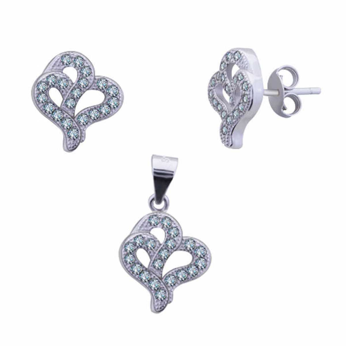Trendy Silver Pendant Set