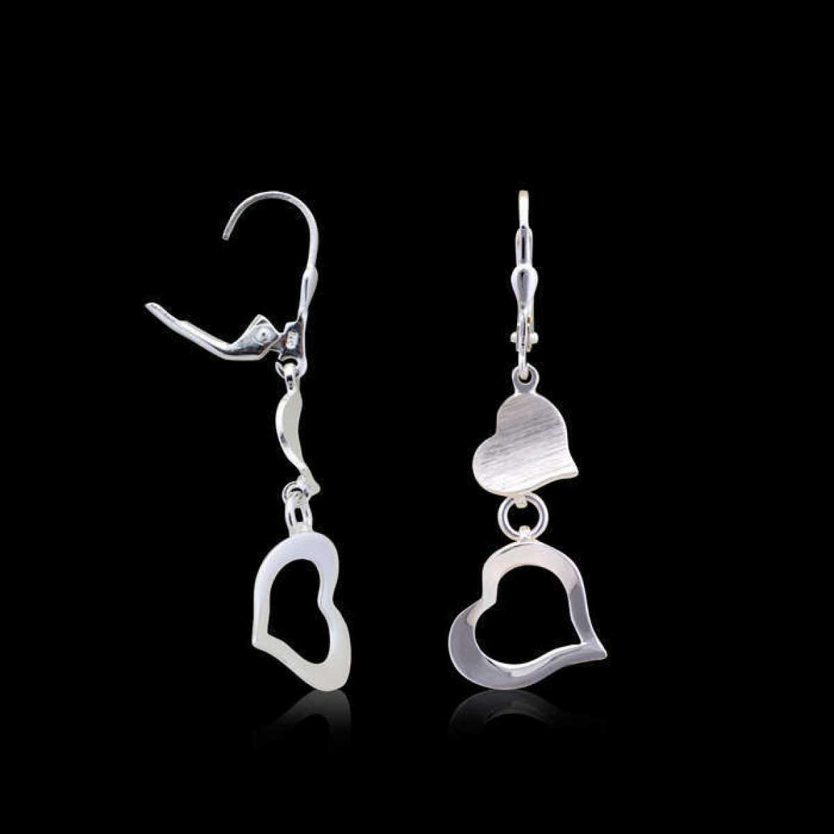 Long Dual Heart Silver Earring