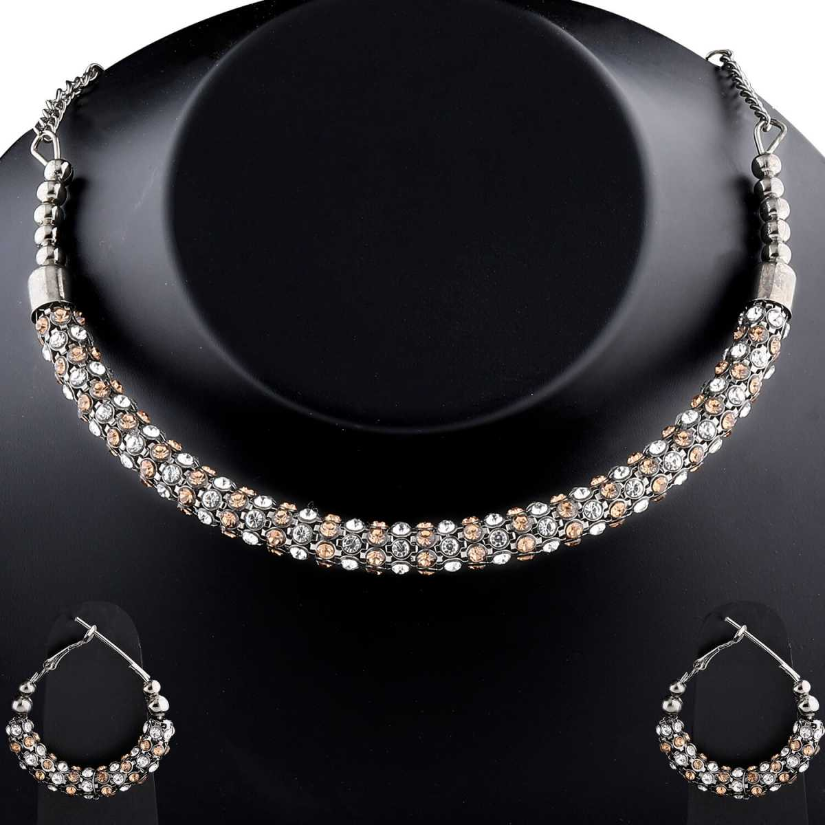 Elegant Silverplated Partywear Diamond Studded Hasli Necklace set For women Jewellery
