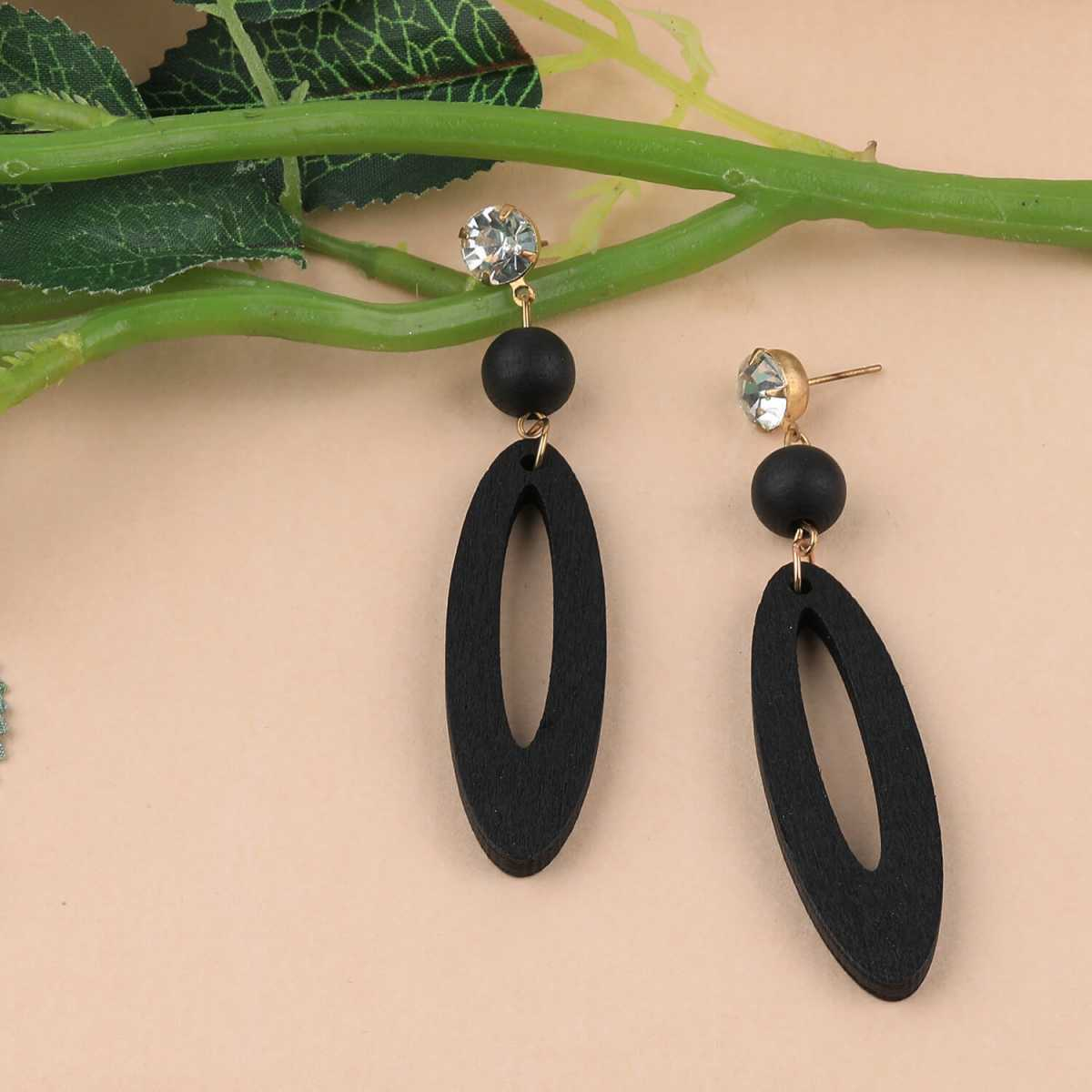 SILVER SHINE Exclusive Black Wooden Earrings Long Dangler Light Weight Earring for Girls and Women.
