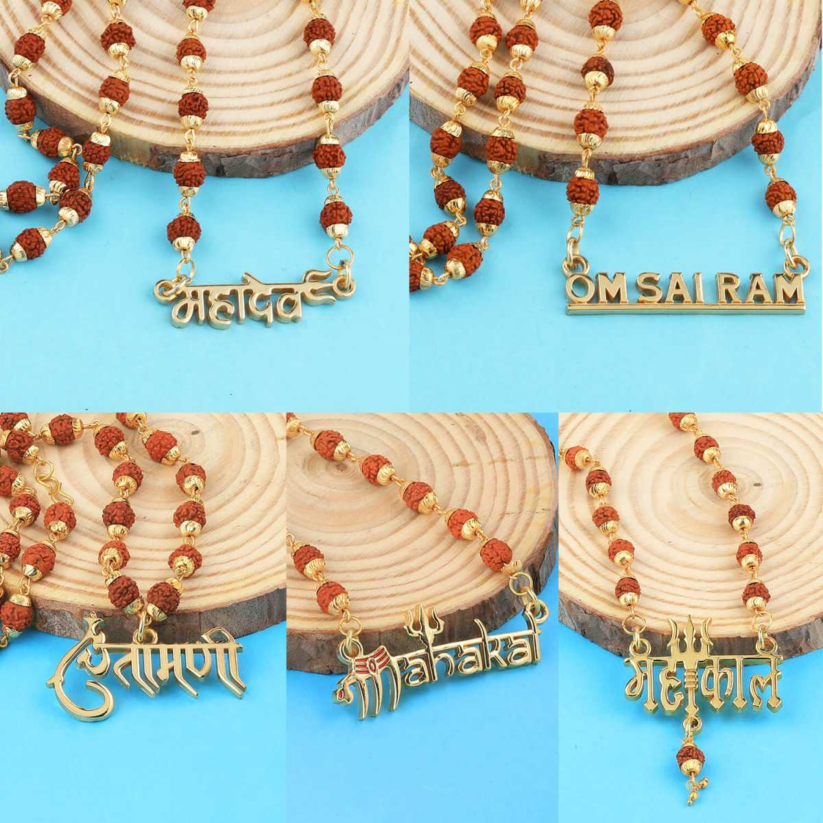 Gold Plated Combo Rudraksh Mala for Men and Women-set 5
