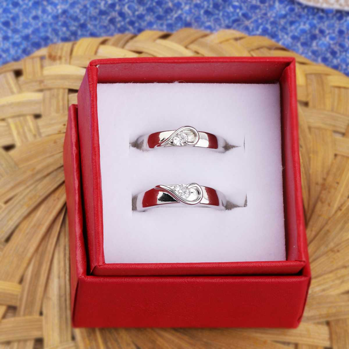 Silverplated Half Heart In Solitaire His and Her Adjustable proposal couple ring For Men And Women Jewellery