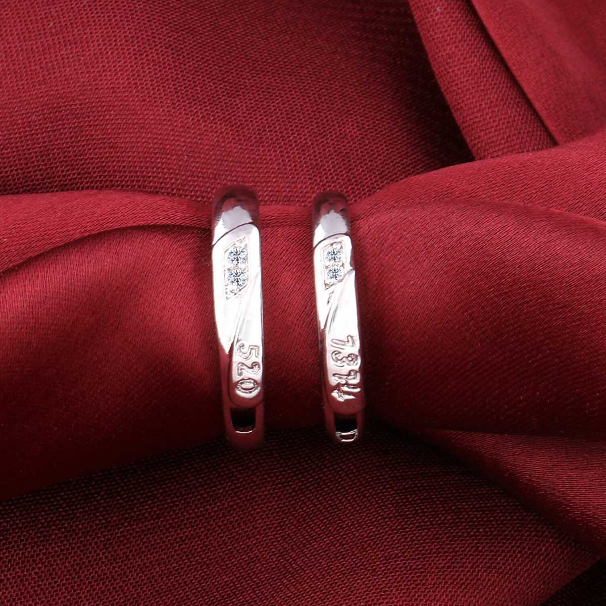Silverplated  Adjustable proposal couple ring For Men And Women Jewellery
