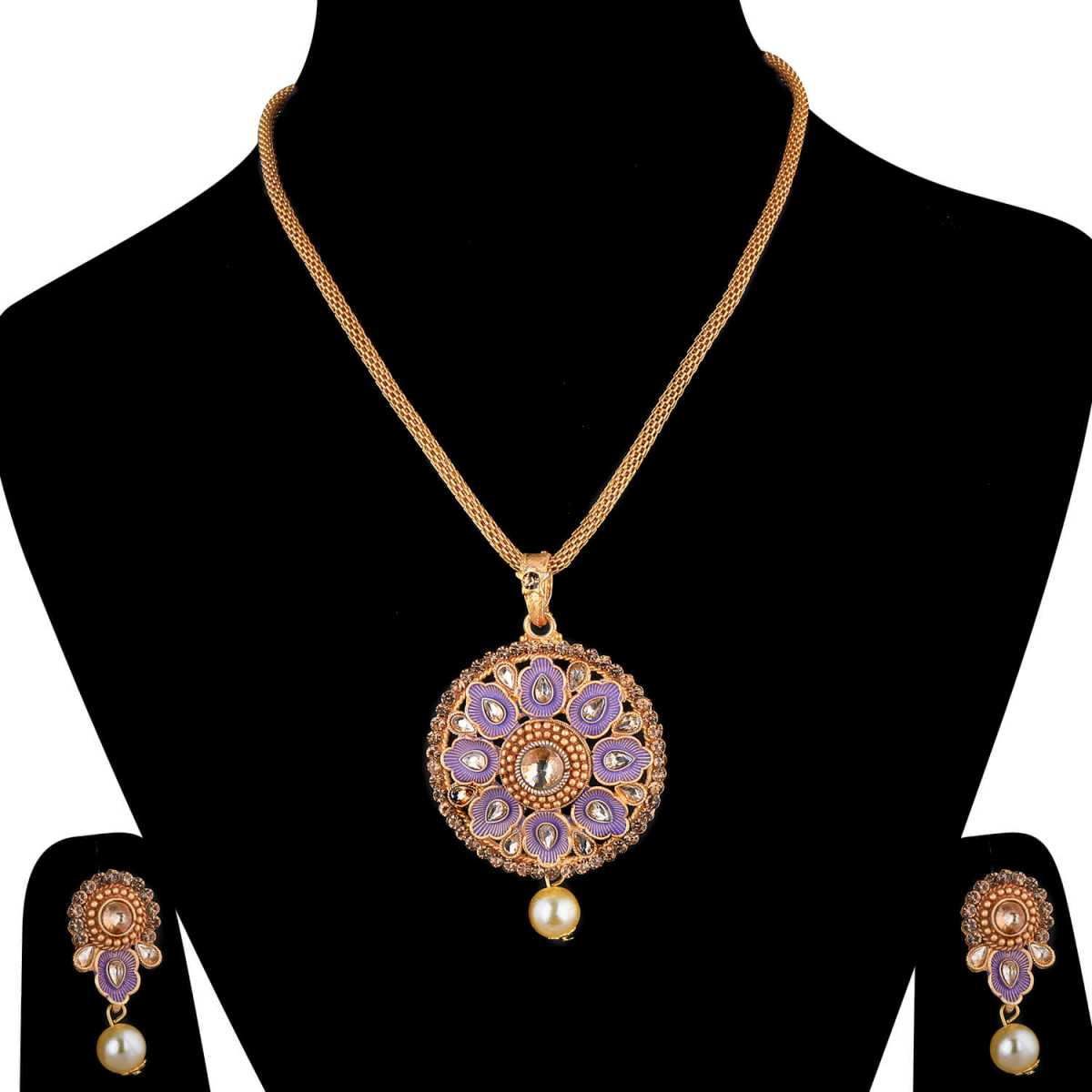 SILVERSHINE Goldplated Traditional Necklace Pendant  set  for women jewellery