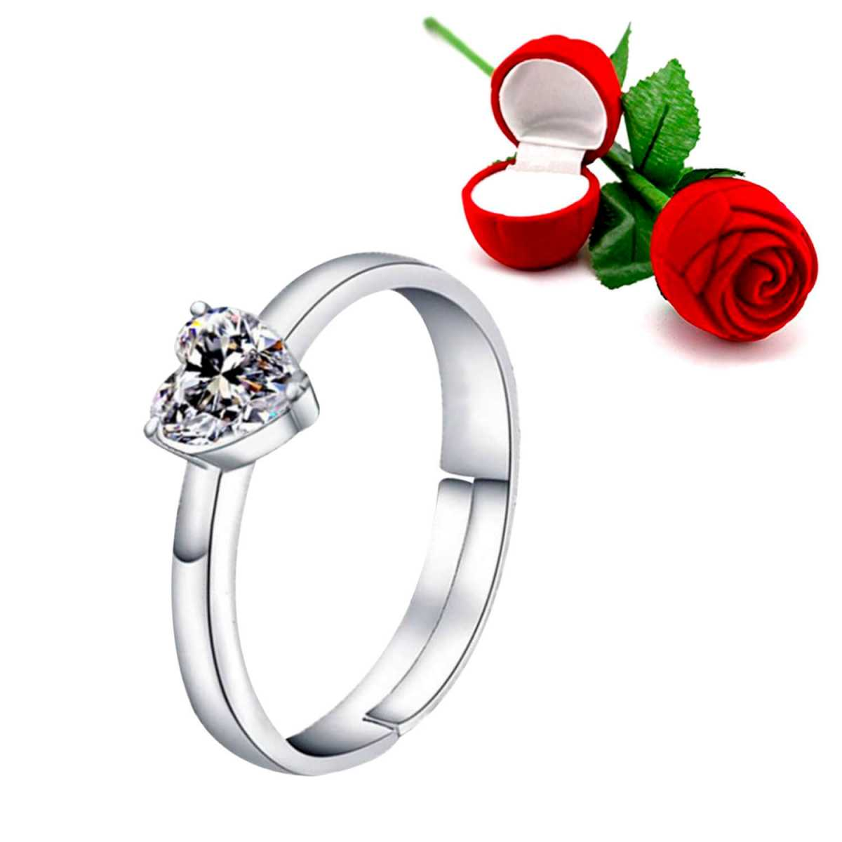 Silver Shine Silver Plated Adjustable Ring with 1 Piece Red Rose Gift Box  for Girls and women