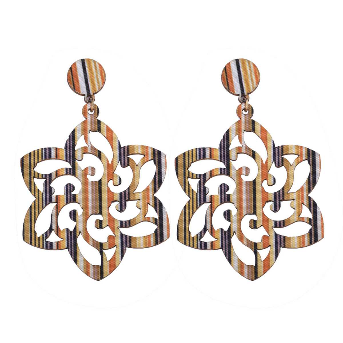 SILVER SHINE Designer Wooden Earrings Natural Wood for Perfect and Different Look