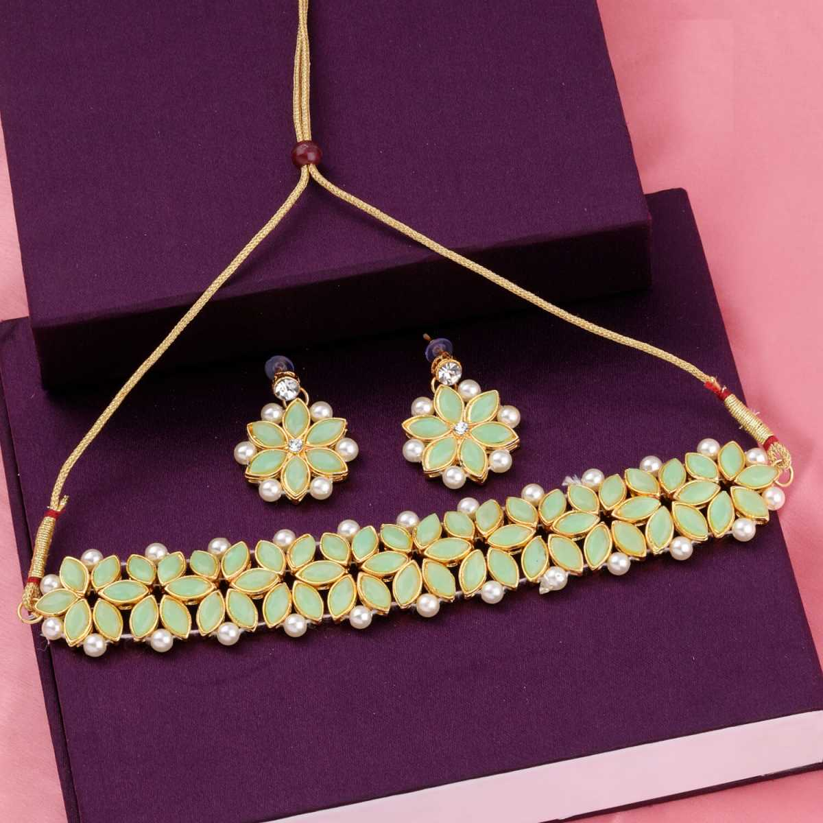 SILVER SHINE Gold Plated Exclusive Light Green Stone Choker Set For Girls And Women