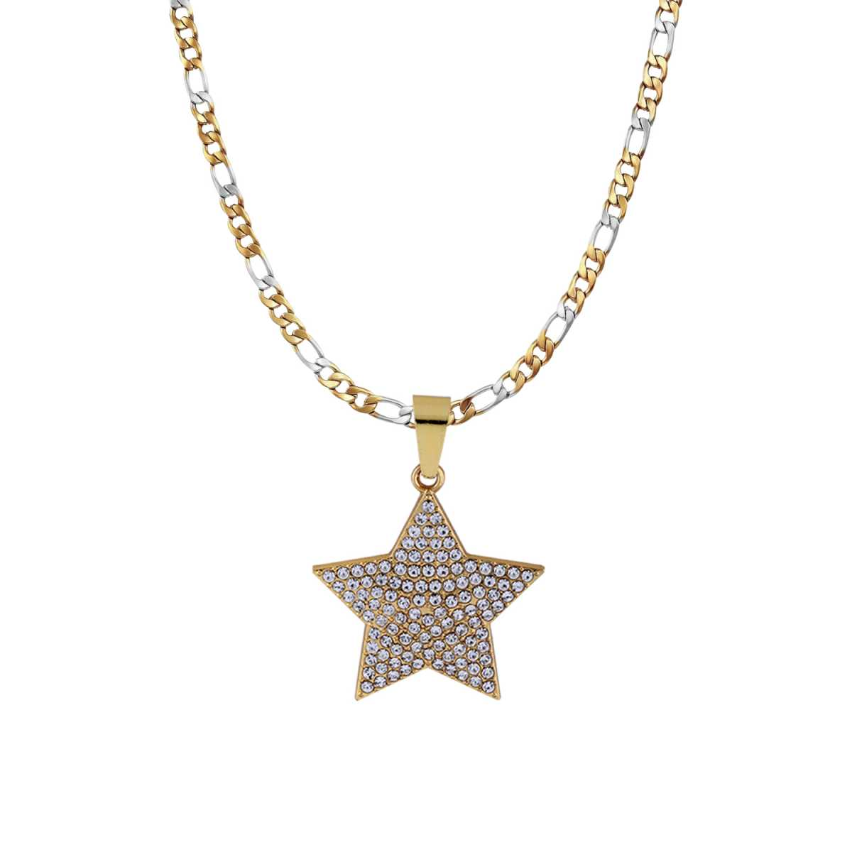 SilverPlated Attractive Figaro Chain With Star pendant With Diamond Studded For Men and boy Jewellery