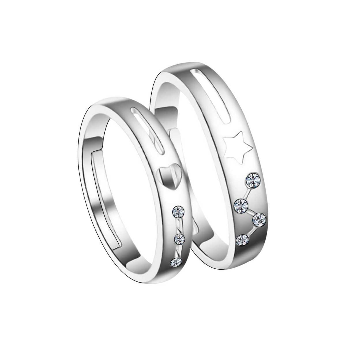 SILVERSHINE,silver plated attractive zig zeg diamond designer adjustable couple ring for men and women.