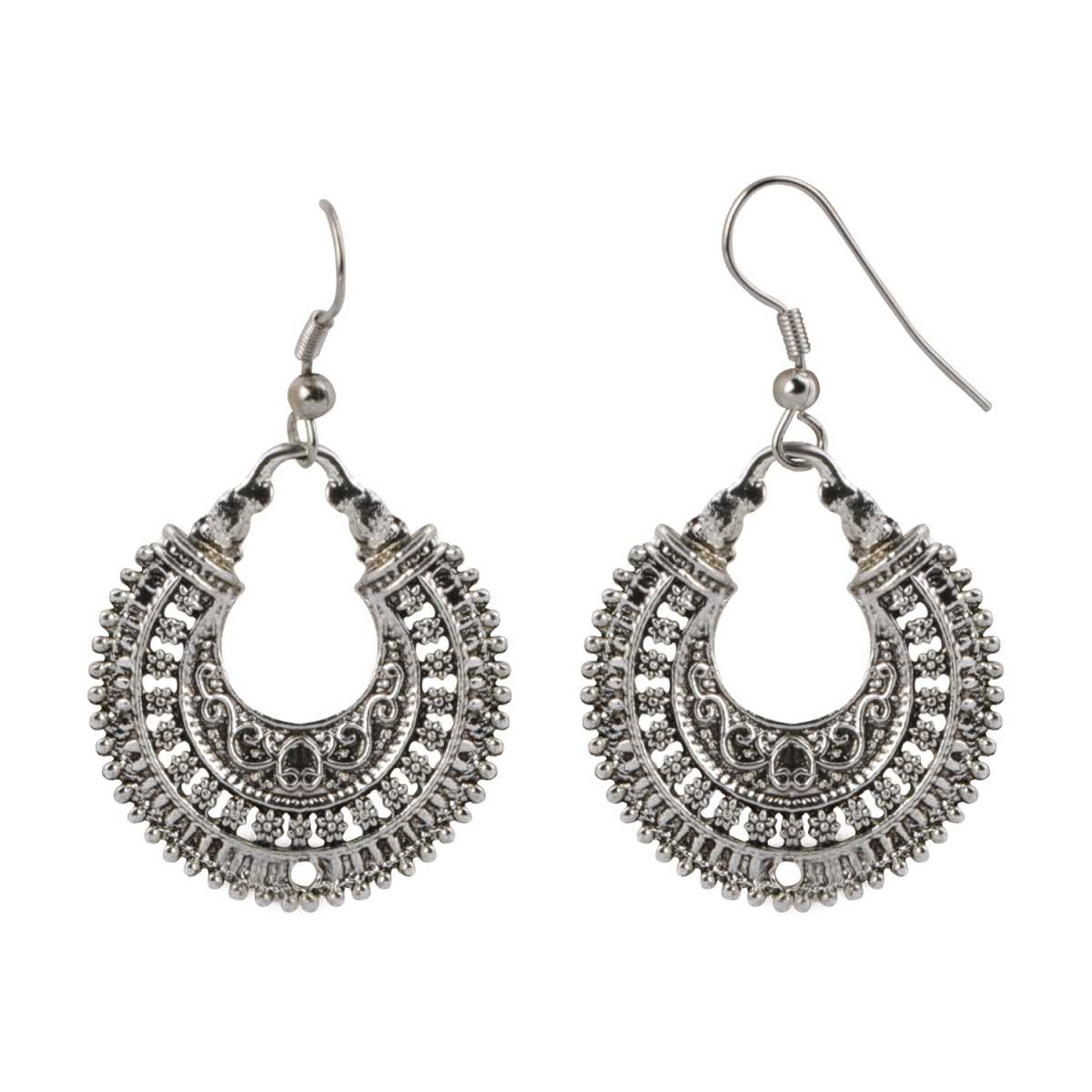 Silver Shine Alluring Traditional Chandbali Silver Earrings for Women