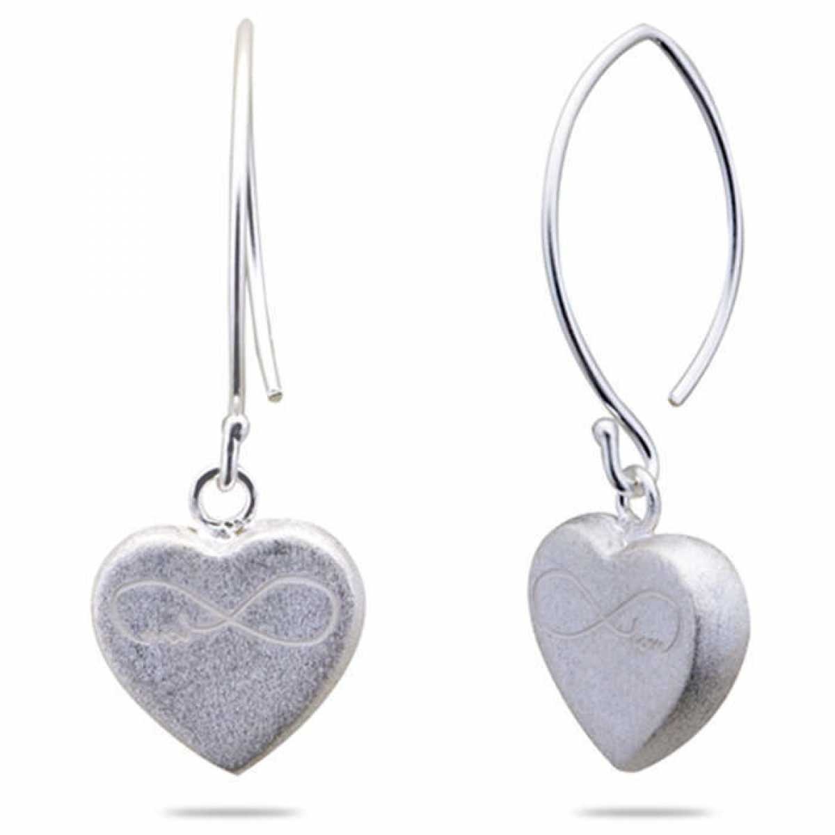 Fish Hook Heart Silver Earring