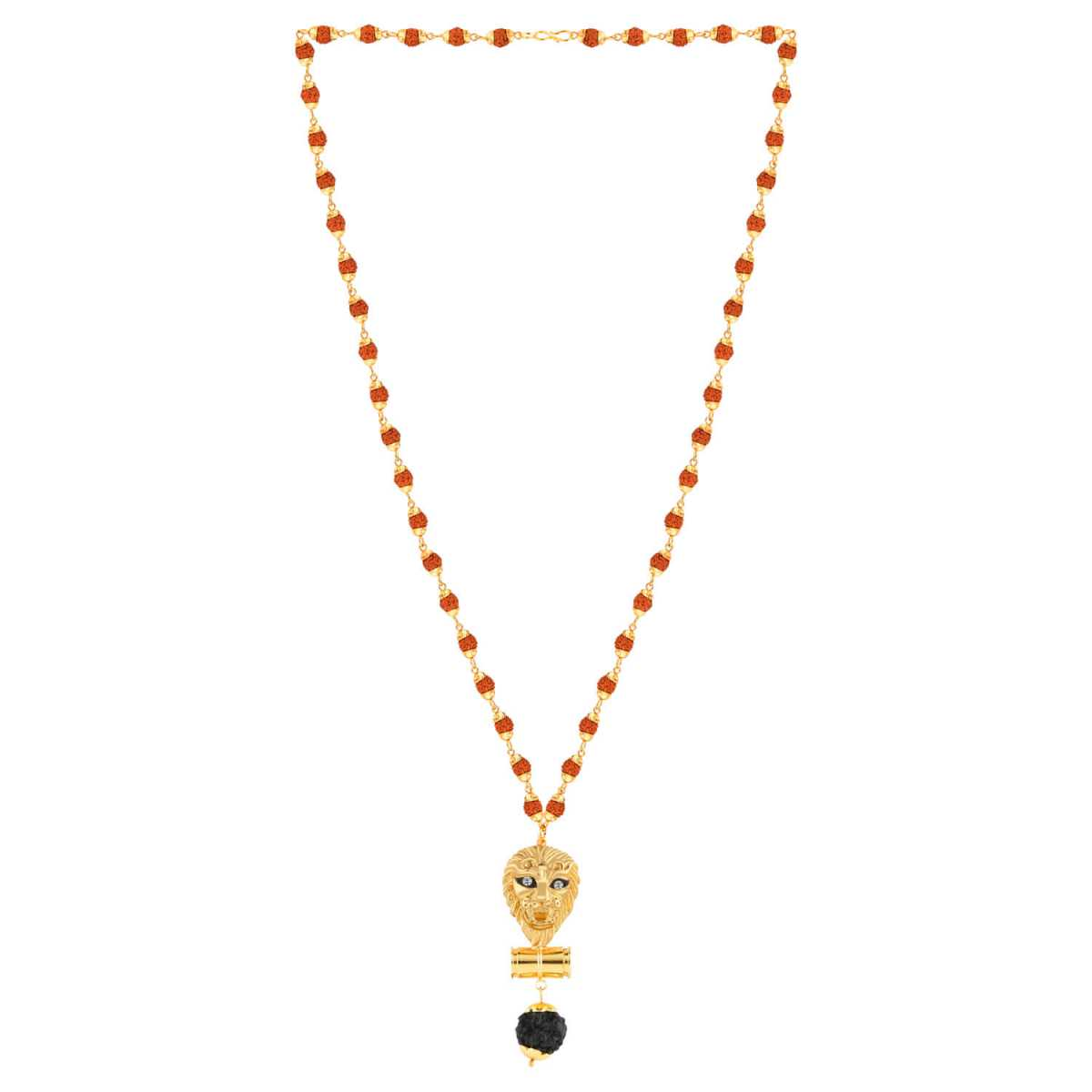 SILVER SHINE Gold Plated  Traditional Rudraksh Mala Lion Pendant for Men and Women