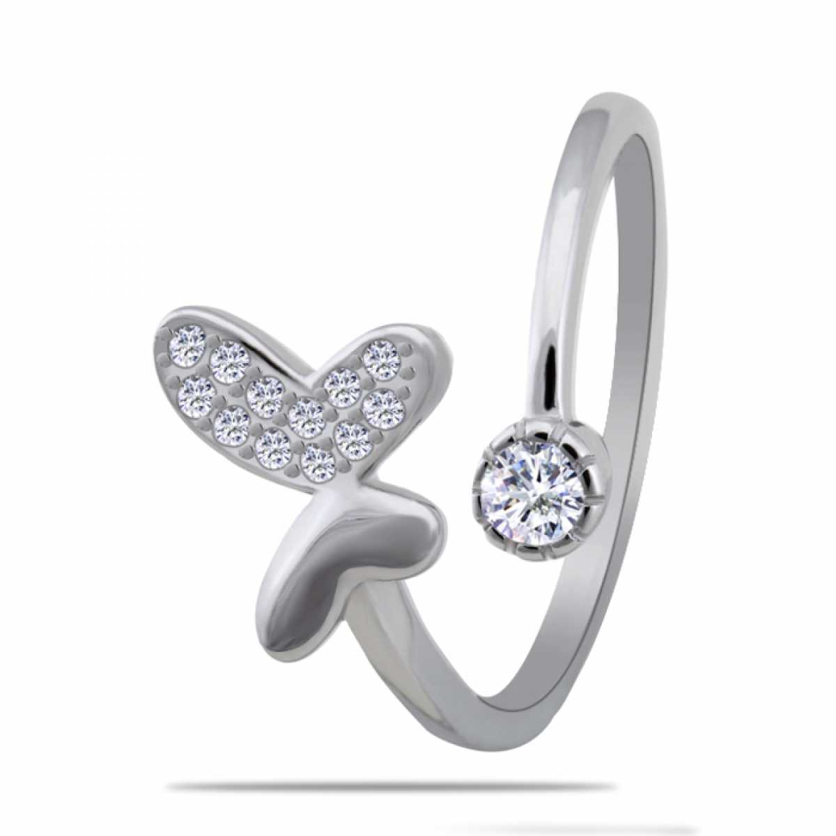 Butterfly With Diamond Silver Ring