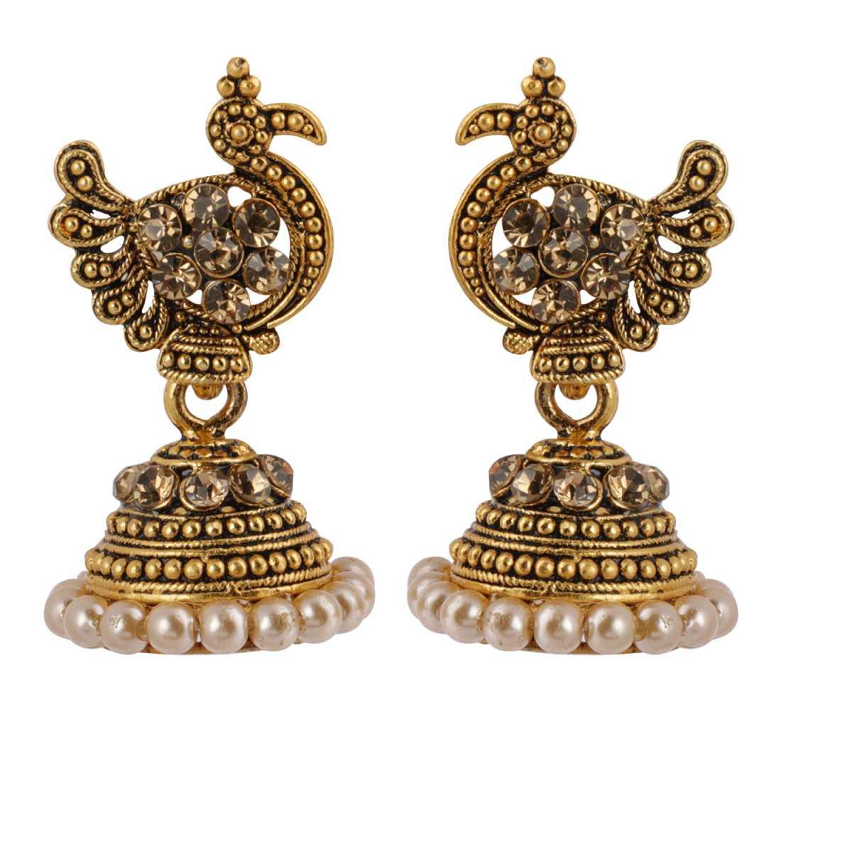 Silver Shine Attractive Peacock Beige Diamond Beaded Jhumki Earrings for Women