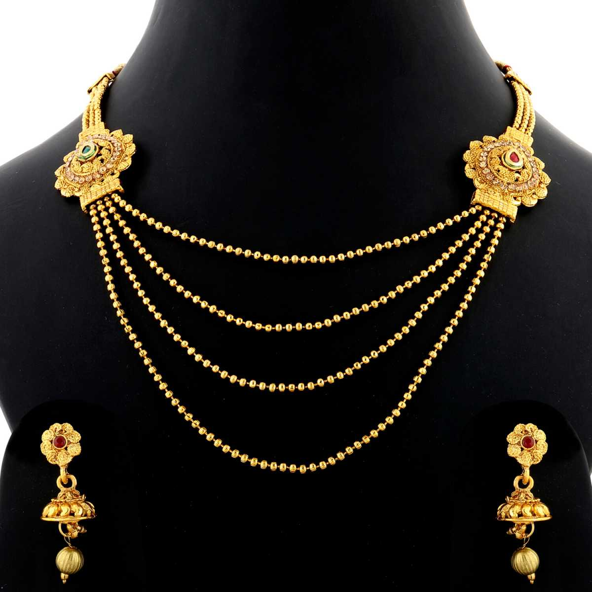 Silver Shine Traditional Gold Plated Ethnic Colour Kundan Stone Studded Multi Layer Designer wedding Necklace Jewellery Set for Girls and Women