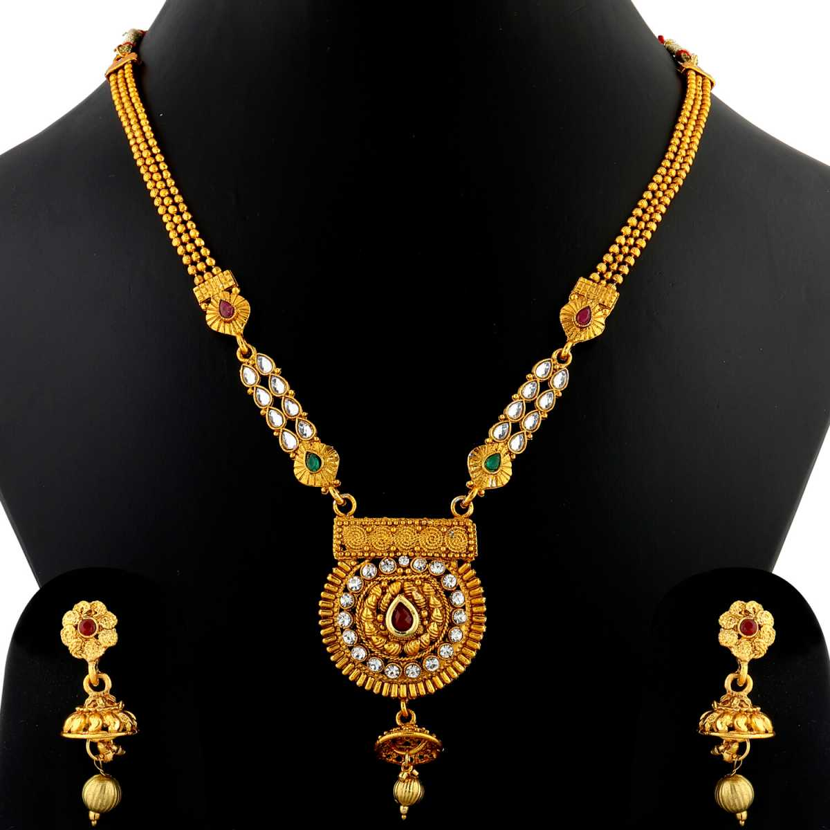 Silver Shine Exclusive Gold Plated Traditional  Three Line Chain & Round Shape Stone Studded Kundan Long Necklace Set  Jewellery  For Women And Girls