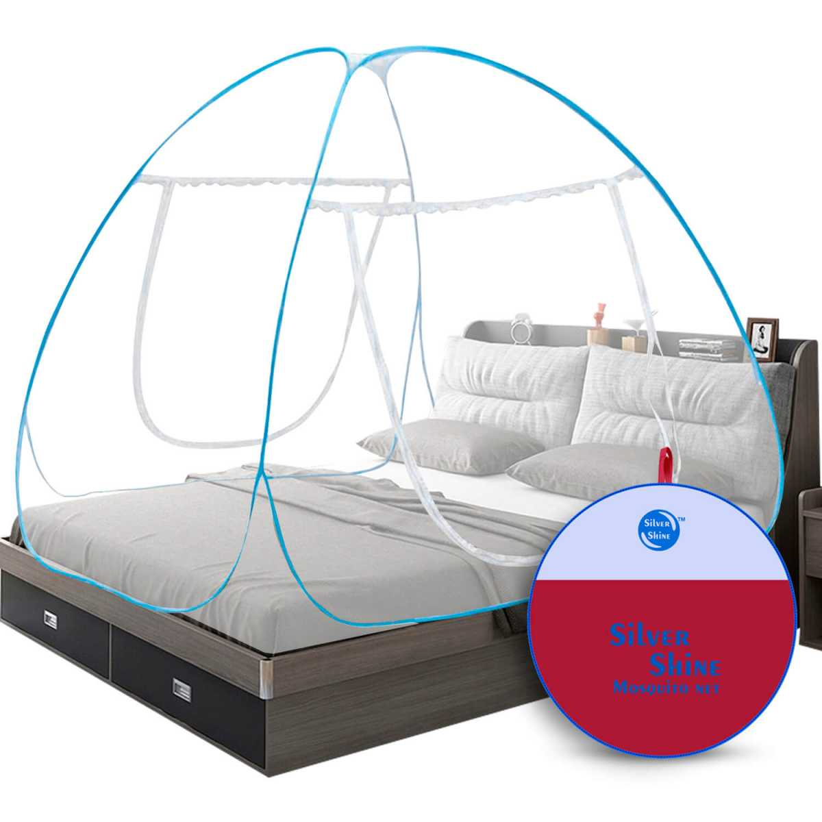 Silver Shine Blue Mosquito Net Foldable Double Bed Net