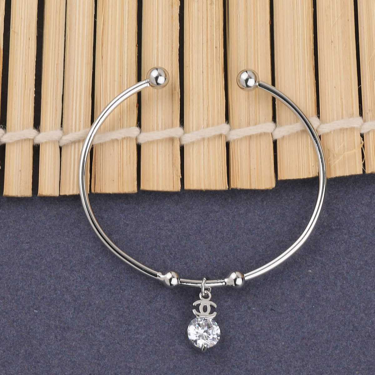 SILVER SHINE Charm Stylish Look Adjustable Bracelet With Diamond For Women Girls