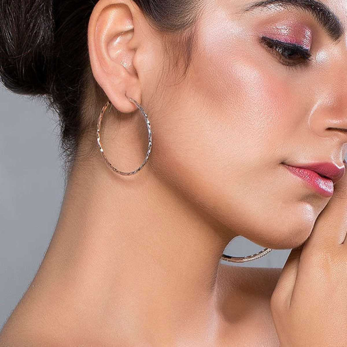 Circle Rose Gold And Silver Earring
