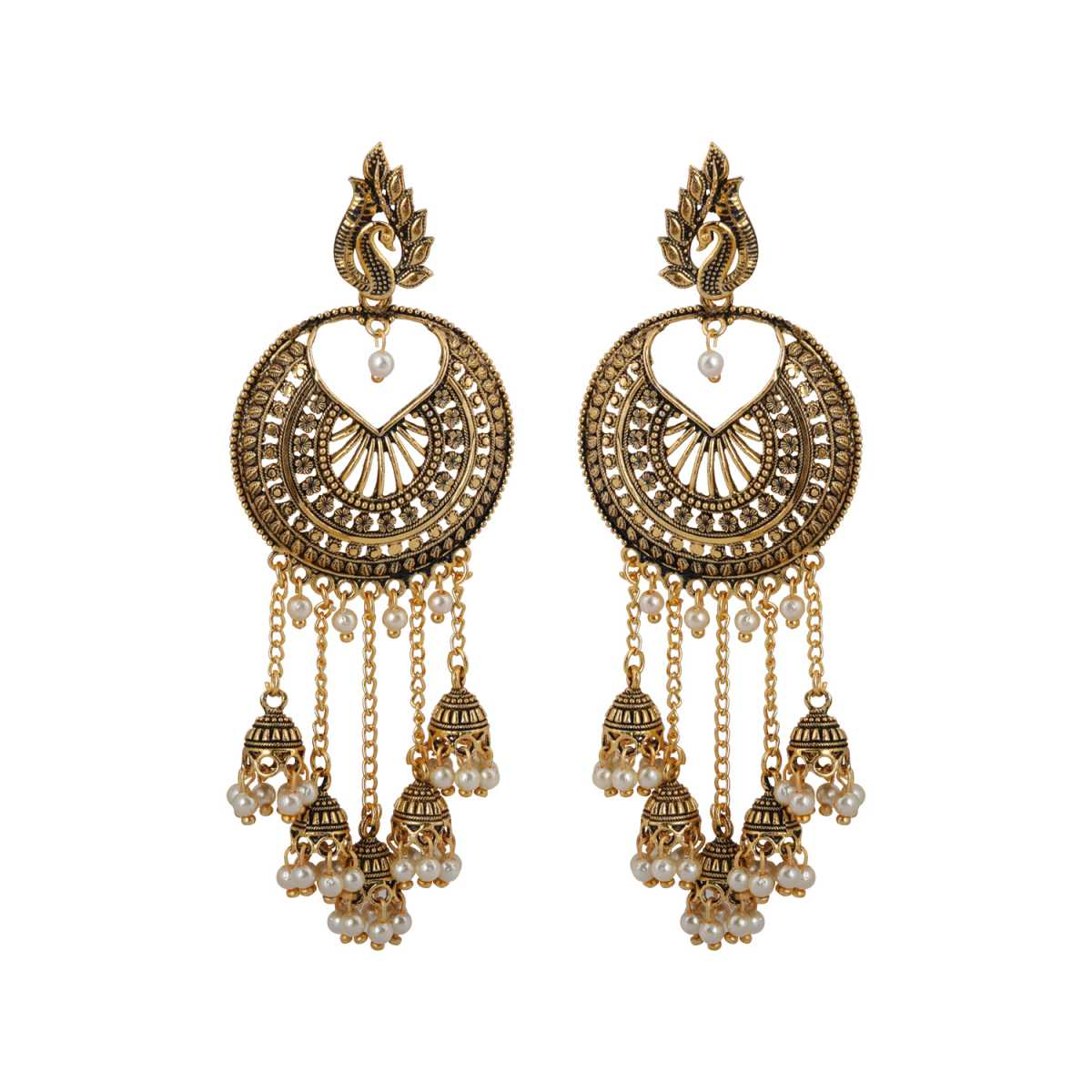 silver shine Beautiful Round Peacock Jhumki Dangler
