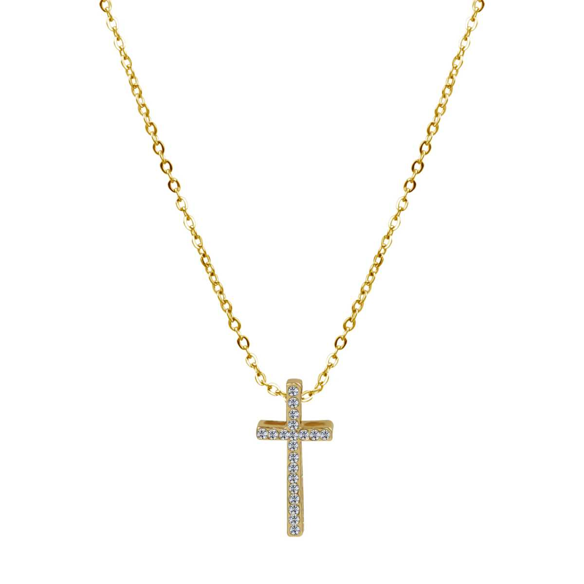 Religious Gold 18 Inch Flat Brass Cable Chain With Diamond Cross Pendent Neckless For Girls And Women
