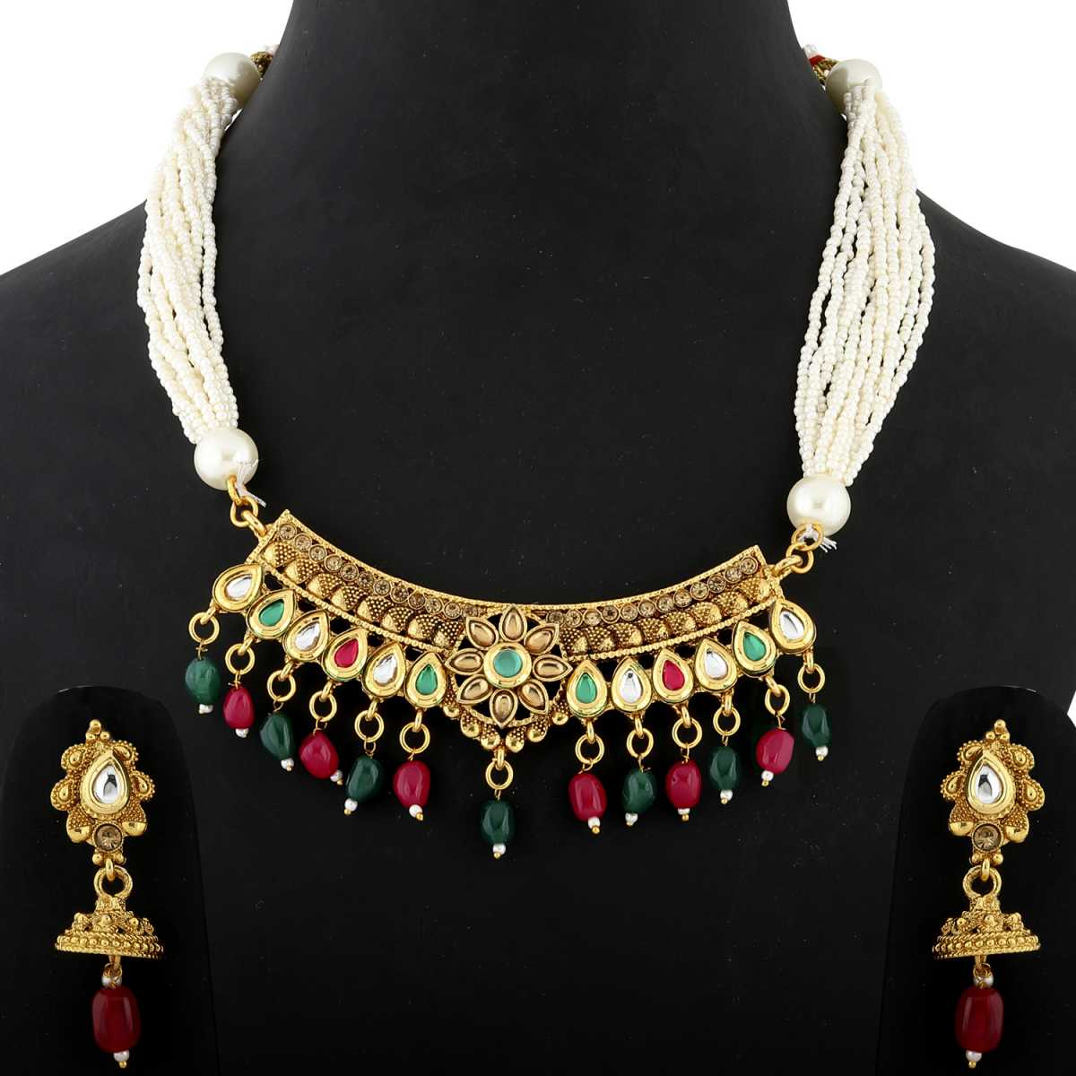 Silver Shine Royal Gold Plated Traditional Kundan Colour Stone Studded Bead Drop Multi White bead line chain type Designer Mala Wedding Necklace jewellery set for Girls And Women