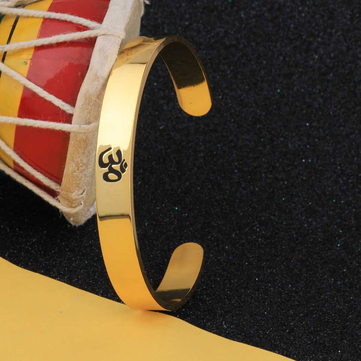 SILVER SHINE Gold Plated Stylish Bracelet Adjustable OM Design Kada for Men