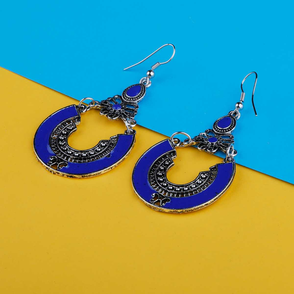 Silver Shine Graceful Blue Fish Hook Earrings for Women
