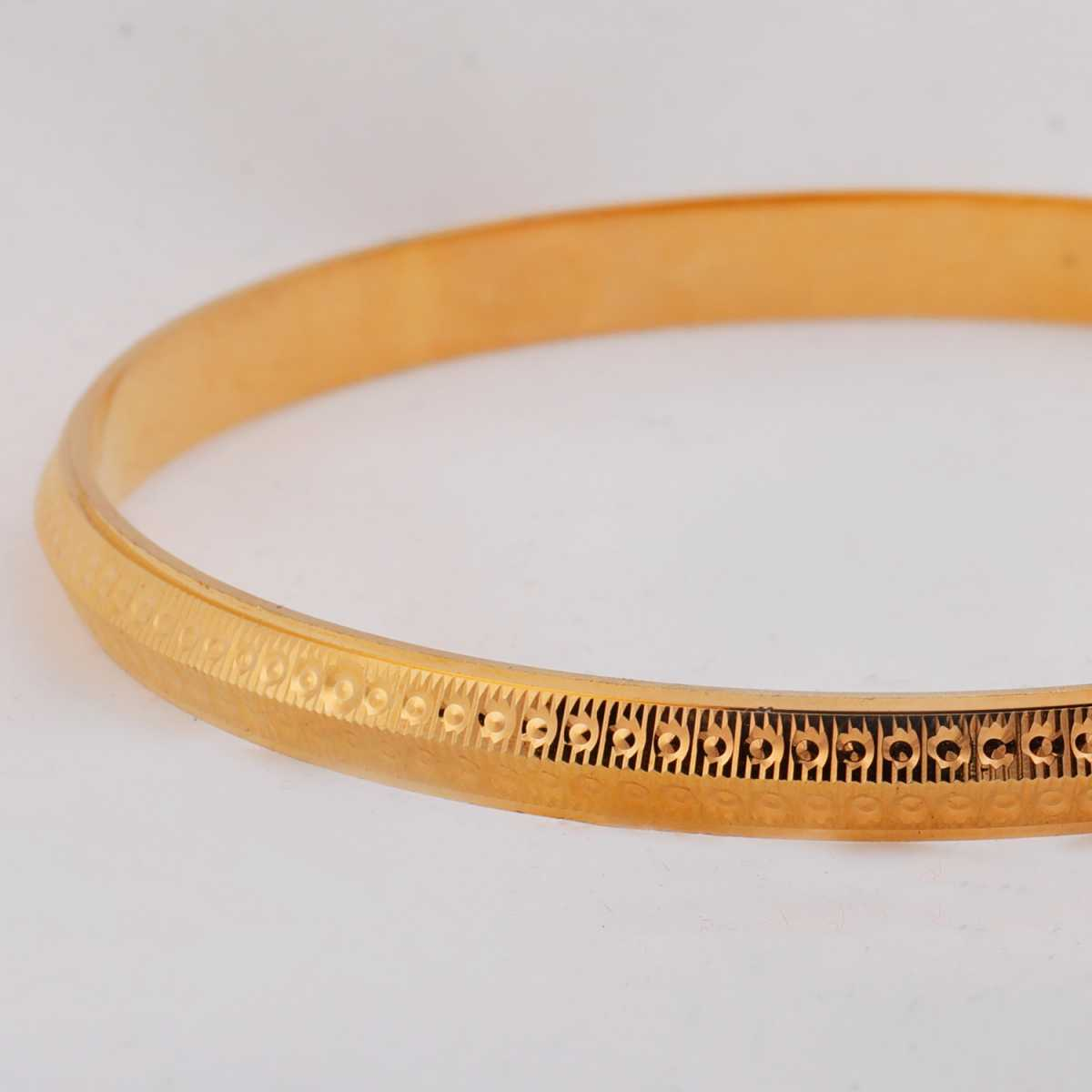 Silver Shine Gold Plated Metal Thin Round Ridged  Punjabi Kada Bangle Bracelet For Boys and Mens.