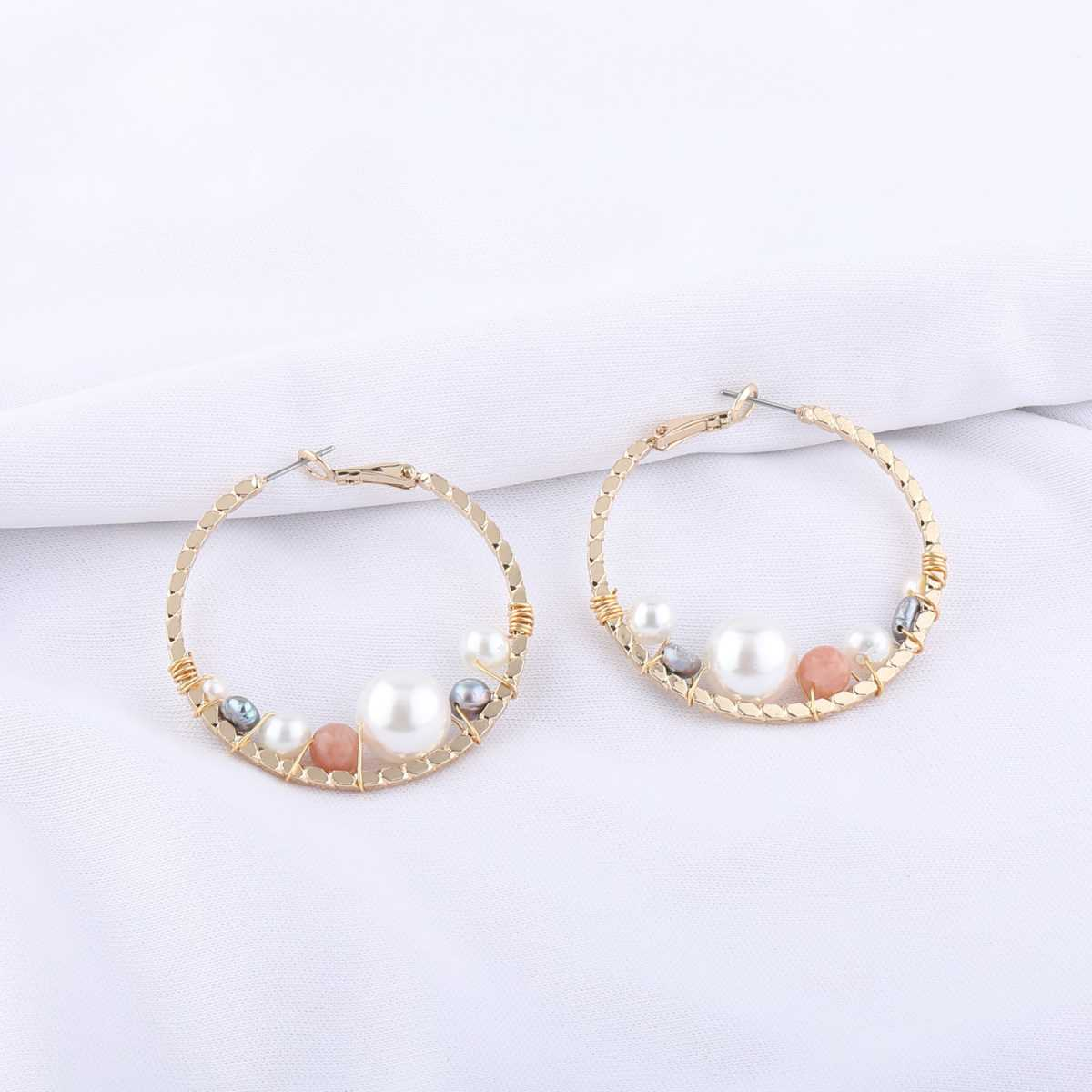 Silver Shine Designer Pearl Studded Stylist Party Wear Hoop Earring for Girls and Women Jewellery
