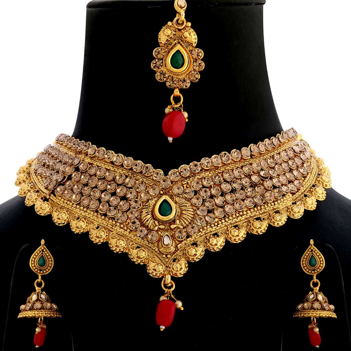 Silver Shine Gold Plated Choker  Traditional Unique Mesmerising Kundan stone studded Maharaja Style design with Bead Drop  Designer Bridal Wedding Necklace jewellery set for Girls And Women