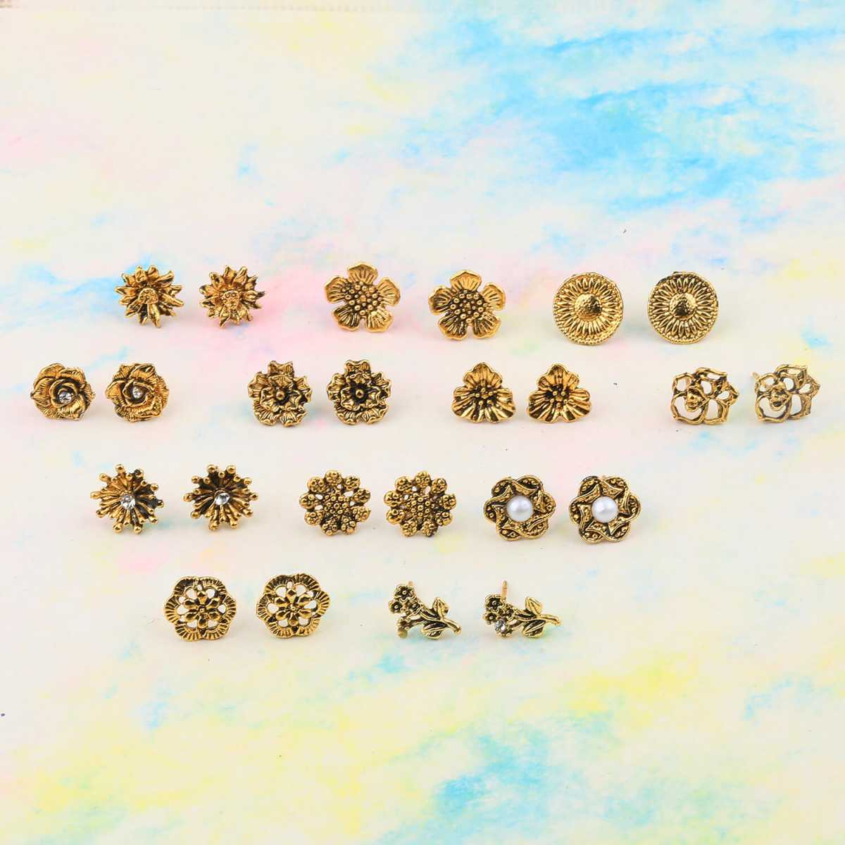 SILVER SHINE Party Wear Golden Oxidised Charm Studs Earring Girl Women Set of 12