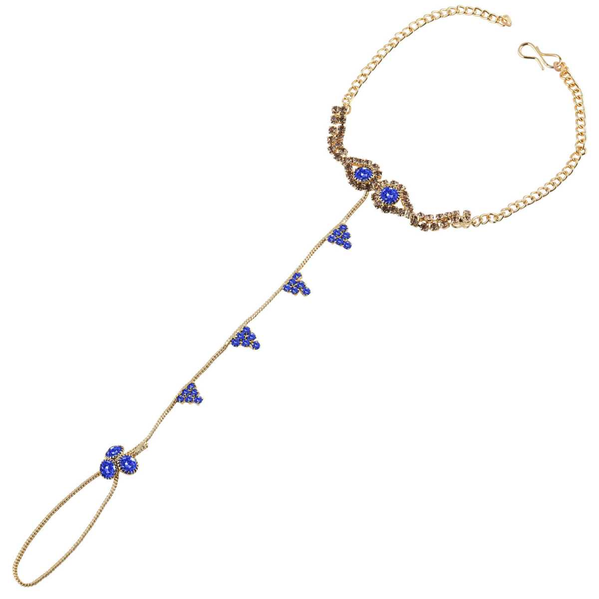 Silver Shine Traditional Ethanic Gold Plated Royal Blue Colour Diamond Studded Designer Ring Bracelete For Girls and Women Jewellery