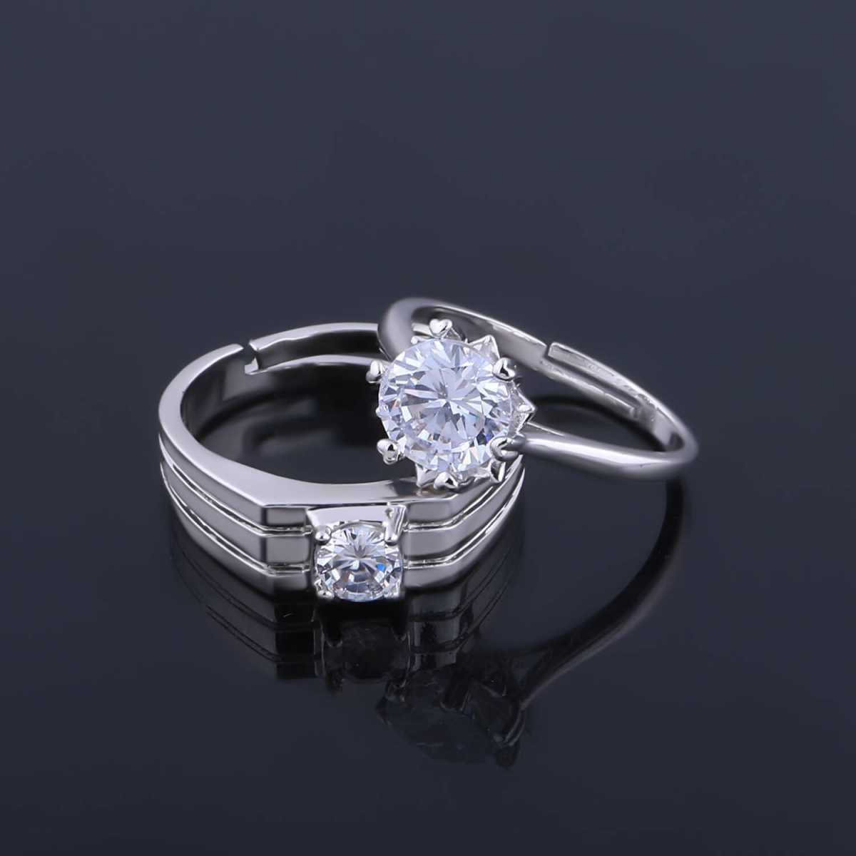 SILVERSHINE,silver plated winsome and withstand design with round pretty diamond adjustable couple ring for men and women.