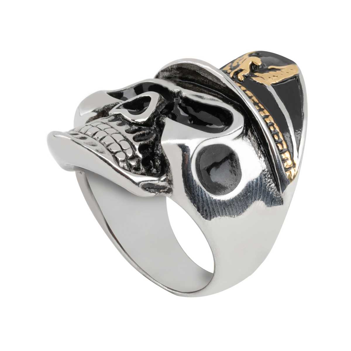 Silver Shine Stainless Steel Cowboy Skull Bikers Ring for Boys and Men