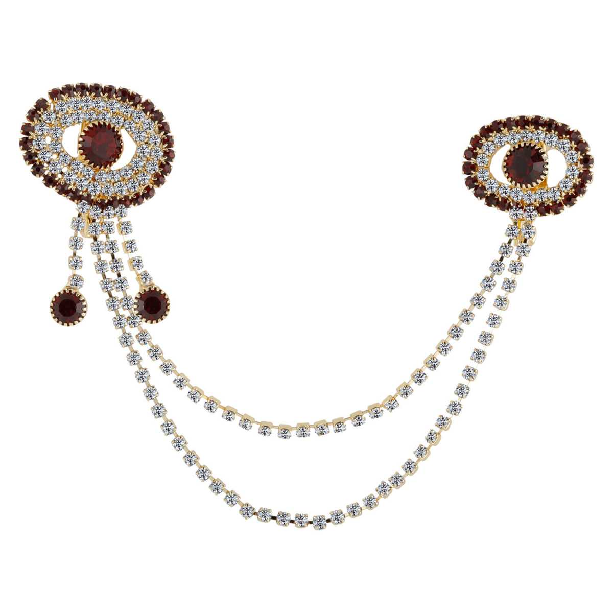 Silver Shine Traditional Gold Plated Exlusive Maroon Colour and White Diamond Studded Designer Wedding Brooch For Unisex Jewellery