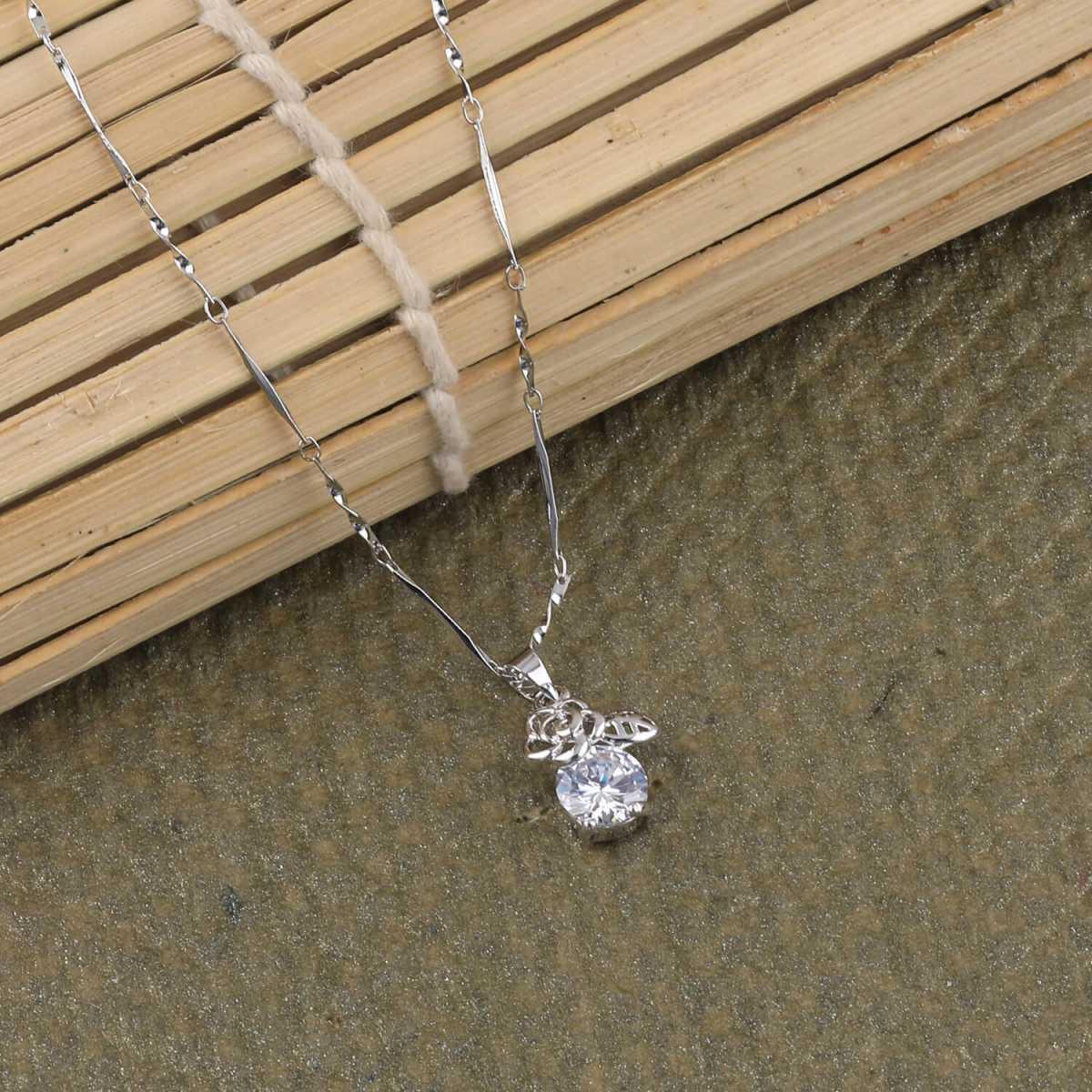 SILVER SHINE  Silver Plated Exclusive Chain Solitaire Diamond Pendant For Women