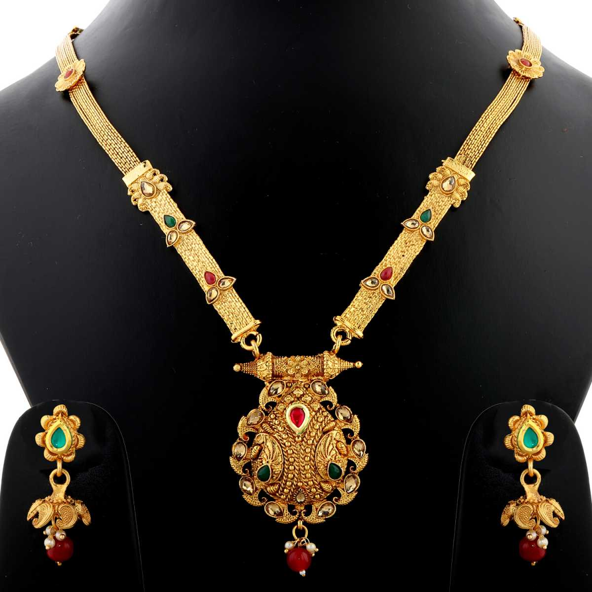 Silver Shine Unique GoldPlated Traditional Red And Green Stone Studded Long Necklace Set  Jewellery  For Women And Girls