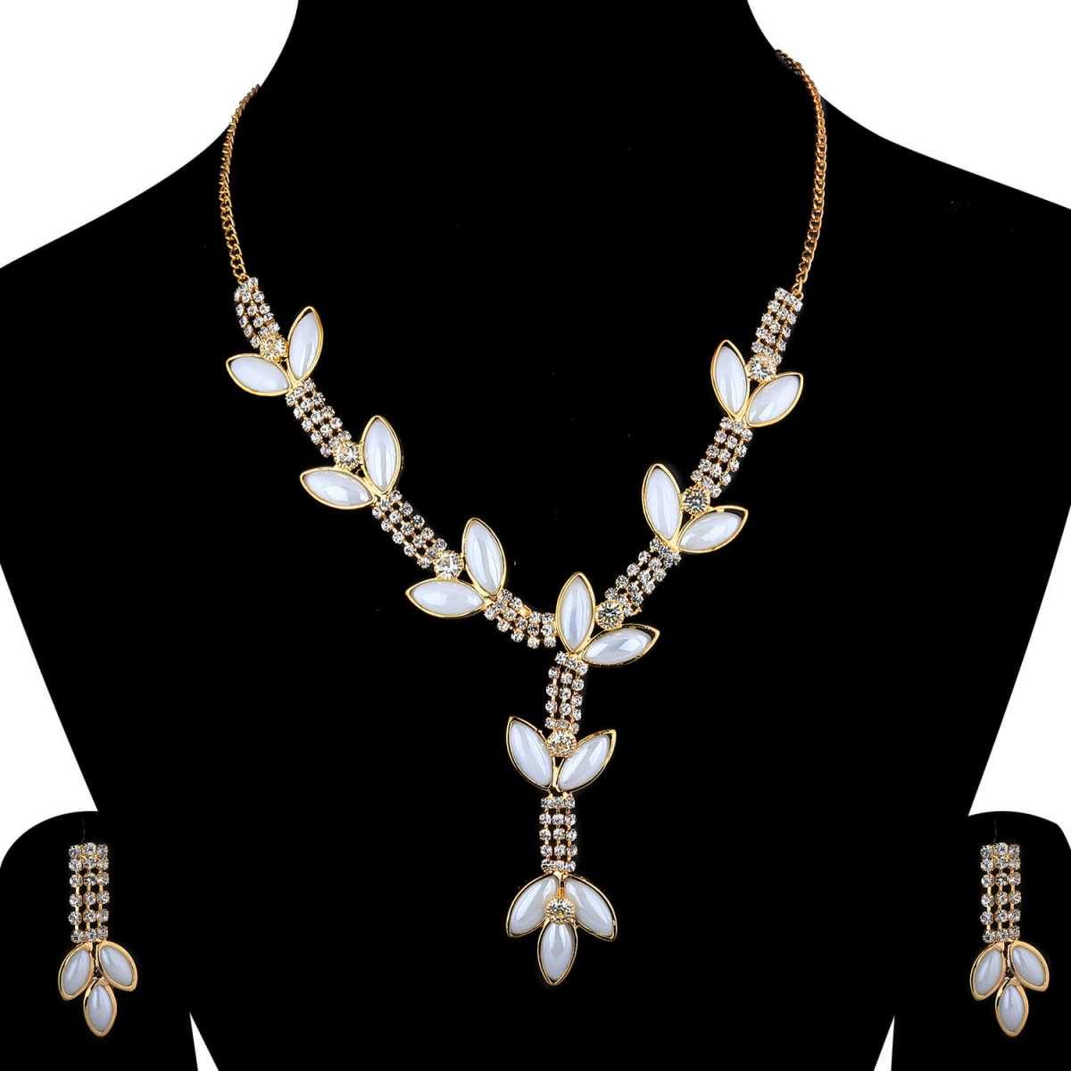 SILVERSHINE Goldplated Traditional White Diamond And pearl Necklace set  for women jewellery