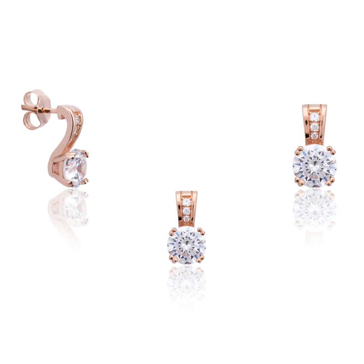 Rose Gold Single Diamond Pendant Set