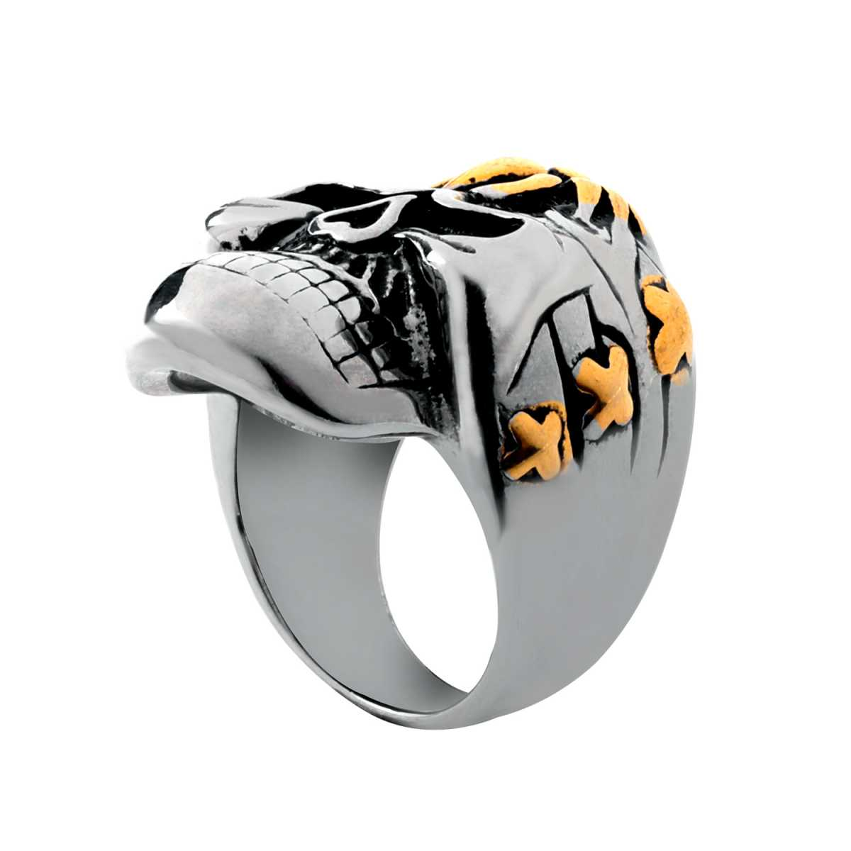 Silver Shine Stainless Steel Scar Face Scorpion Skull Bikers Ring for Boys and Men